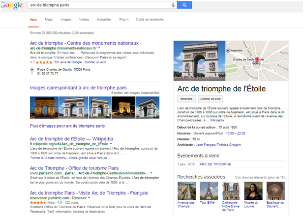 requete google arc de triomphe paris